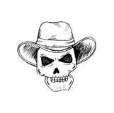 Ludzkie czaszki z kowbojskim kapeluszem ilustracji