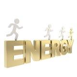 Ludzkie działające symboliczne postacie nad słowo energią Zdjęcie Royalty Free