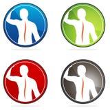 Ludzkie kręgowej kolumny zdrowie ikony Zdjęcia Stock