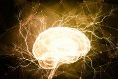 Ludzkiego mózg bodziec Mieszani środki Fotografia Royalty Free