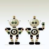 Ludzkiego robota pomocniczy instruktor odpowiada pytania i wita klientów ilustracja wektor