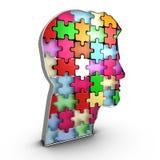 Ludzkiej głowy infrastruktura, oddziała wzajemnie cegły które tworzą umysł Obraz Royalty Free