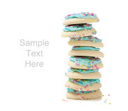 Lue sugar cookies on white and copy space Stock Photography