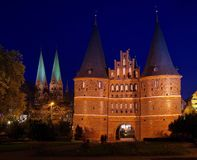 Luebeck Gate by night Royalty Free Stock Photo