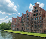 Luebeck, Germany,  June 19, 2017, View to the River Trave and the salt storage house in Luebeck Royalty Free Stock Images