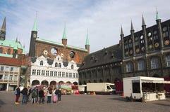 Luebeck - marktplaats - I - Stock Afbeelding