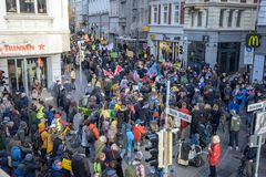 LUEBECK, GERMANY - NOVEMBER 29, 2019: Fridays for Future demonstration at the global day of climate strike - hundreds of old and
