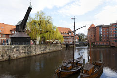 Lueneburg historic harbor with Old Crane Royalty Free Stock Photos