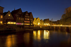Lueneburg historic harbour at night Royalty Free Stock Photo