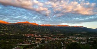 Lueur alpine sur les crêtes de Breckenridge, le Colorado Image libre de droits