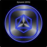 Lueur au néon bleue de dyne en métal de witn dynamique de pièce de monnaie illustration libre de droits