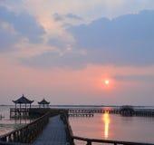 Lueur de coucher du soleil en Chine Image stock