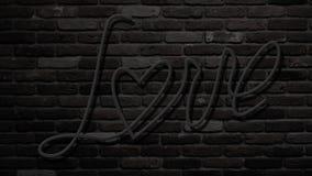 Lueur de lampe au néon au fond foncé de brique Mot d'amour avec le symbole de coeur Moitié avec le fond de brique pour l'usage co illustration stock