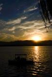 Lueur de scintillement de coucher du soleil du palais d'été Photographie stock libre de droits