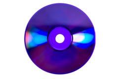 Lueurs colorées sur CD/DVD violet Image libre de droits