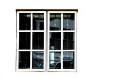 Lufcika okno przeciw białej ścianie zdjęcie stock
