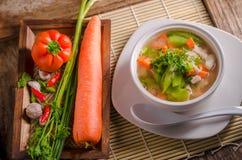 Luffasvamp- och morotsoppa, thailändsk mat Royaltyfria Bilder