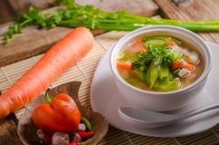 Luffasvamp- och morotsoppa, thailändsk mat Royaltyfri Foto