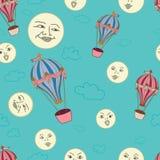 Luft Ballons und lächelnde Monde auf einem Knickentenhintergrund lizenzfreie abbildung