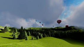 Luft Ballons unter Wald und Bergen stock video footage