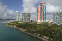 Luft- Bild des Süd-Pointe-Park-Miami Beachs Stockfoto