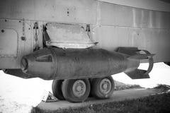 Luft bombarderar svartvitt Arkivbild