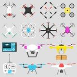Luft för illustration för vektor för medelsurrquadcopter som svävar kameran för hjälpmedelfjärrkontrollfluga vektor illustrationer