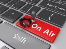 luft för ord 3d med en mic och hörlurar på datortangentbordet stock illustrationer