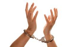 luft handfängslade händer som lyfter den vita kvinnan arkivbilder