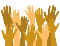 luft hands upp att ställa upp som frivillig röstning Arkivfoto