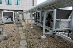 Luft kyld växt för vattenchiller med pipeworken Royaltyfria Bilder