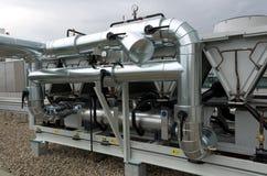 Luft kyld växt för vattenchiller med pipeworken Royaltyfria Foton
