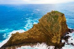 Luft-Madeira-Inselansicht mit Atlantik lizenzfreies stockfoto