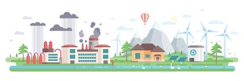 Luft- och vattenförorening - modern plan illustration för designstilvektor stock illustrationer