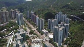 Luft-panarama Ansicht über Shatin, Tai Wan, Shing Mun River in Hong Kong stock footage