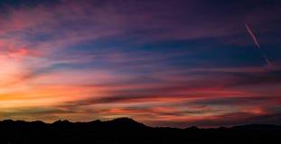 Luft-, panoramische Sonnenuntergang-Ansicht über Tubac Arizona stockfoto