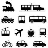 Luft-, See-, Land- und Transportikonen Stockfoto