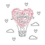 Lufta ballon i form av hjärta, valentindag Arkivbilder