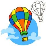 Lufta ballongen Sida för färgläggningbok Arkivfoto