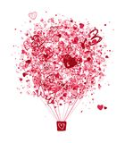 Lufta förälskelsebegreppet, ballong med hjärtor för ditt Arkivfoton