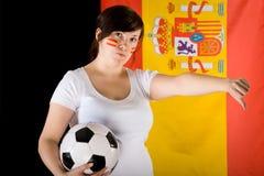 lufta ner yound för den SAD tumen för kvinnligfotboll olycklig Arkivfoton