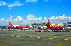 Luftasia flygplan på manila den internationella flygplatsen Arkivbild