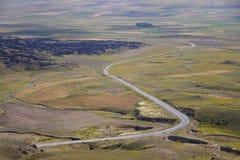 Luftaufnahme über buntes Feld Stockbild