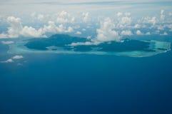 Luftaufnahme über Huahine Stockbild