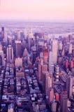 Luftaufnahme über New York City Stockfotos