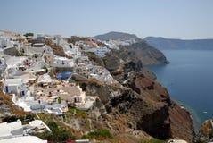 Luftaufnahme über Oia, Griechenland Stockbilder