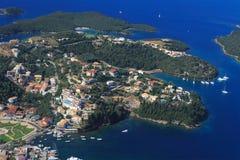 Luftaufnahme über Sivota Griechenland stockfoto