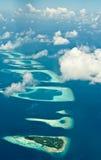 Luftaufnahme über tropische Inseln Stockfotos