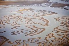 Luftaufnahme der Austerenbetten Stockfoto