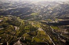 Luftaufnahme der Bauernhoffelder Stockfoto